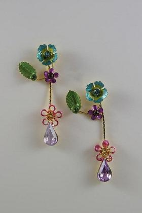 """Nadiana"" Hand Painted Czech Crystal Earrings"