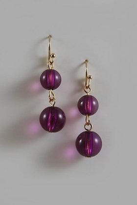 """Jasmine"" Purple Bead Gold Tone Hook Earrings"