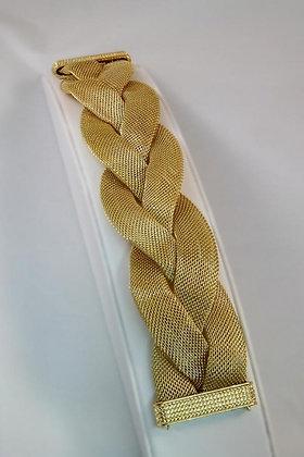 """Gala""Large Flat Mesh Gold Tone Twist Bracelet"