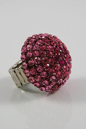 """Halitt""Large Dome Pink Crystal Stretch Ring"