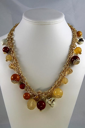 """Jodie""Colored Natural Stone Bead Necklace"