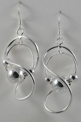 """""""Caroline"""" Sterling Silver Swirl Art Drop Earrings"""