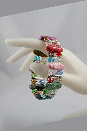 """""""Brooke"""" Multi Color Stone & Facet Crystal Bead Br"""