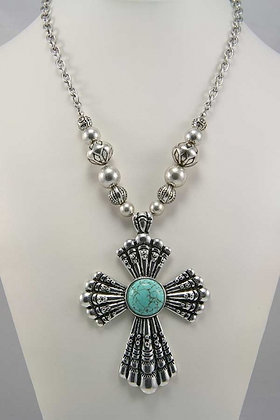 """Fate"" Turquoise Stone Deco Cross Pendant Necklace"