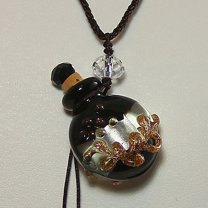 JINX REMOVING Oil with Black Murano Glass Perfume Bottle