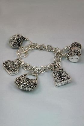 """Heather"" Filigree Purse Charm Link Bracelet"