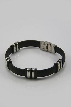"""Freda"" Titanium & PV Silver/Black Bracelet"