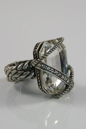 """""""Jarvia"""" Large Art Deco Crystal Stretch Ring"""