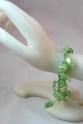"""Babette"" Green Burst-Pattern Crystal Bracelet"