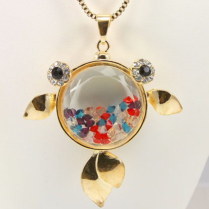 MORENNA Gold Fish Multi Color Crystal  Necklace