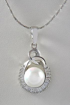 """""""Editta"""" White Pearl & AAA Zircon Pendant"""