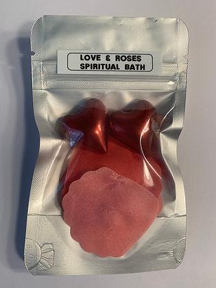 LOVE & ROSES Heart Soap Beads & Rose Petals Bath