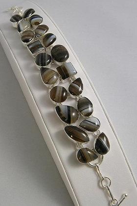 """""""Zafina"""".925 SS Botswana Agate Bracelet"""