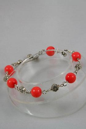 """""""Mave"""" Orange Coral Bead Flower Link Bracelet"""