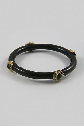 """Amelia Black"" Metal Accent Black Acrylic Bangle B"