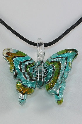 """Alexa""Lampwored Glass Butterfly Pendant"