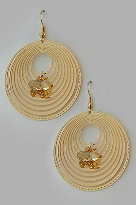"""Labelia"" Swirl Round 18 YKG Citrine Swarovski Crystal Earrings"