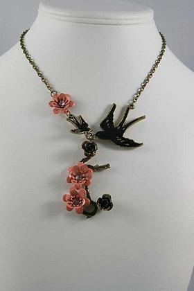 """Jessica""Black Bird Alloy 16""L Necklace"