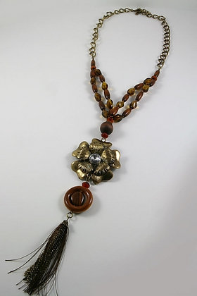 """Lorna""Metal Flower & Crystal 40""L Necklace"