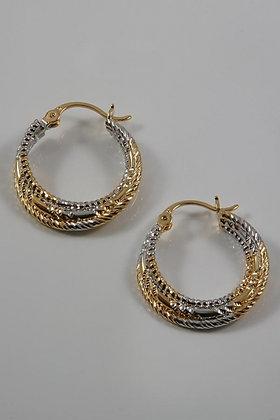 """""""Bibi"""" 18K Gold Two Tone Hoop Earrings"""