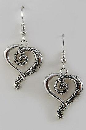 """""""Cobbi"""" Cobblestone White Gold Bonded Heart Earrings"""