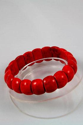"""Kohaku"" Red Howlite Turquoise Stretch Bracelet"