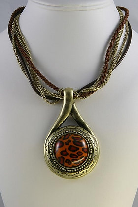 """Nicolette"" Animal Print Stone Necklace"