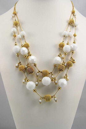 """""""Batenia""""White Faceted Beads Fashion Necklace"""
