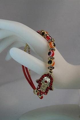 """""""Hamsa"""" Red Crystal Evil Eye Link Bracelet"""