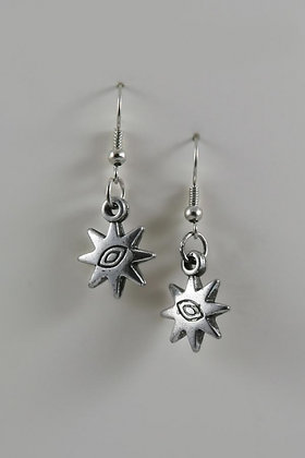 """Iuanna"" Silver Tone Star Dandling Earrings"