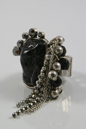 """Karis""Black Stone & Crystal Stretch Ring"