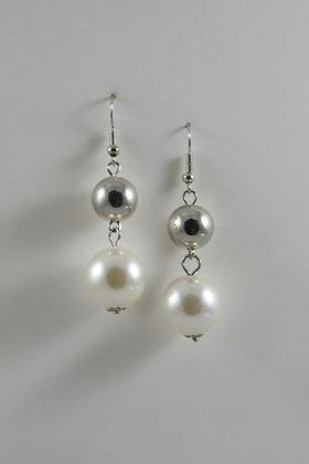 """Holly"" Silver Tone Tone Pearl Drop Earrings"