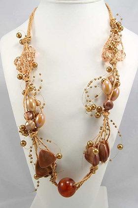 """Danaya"" Chunky Beads and Pearl Necklace"