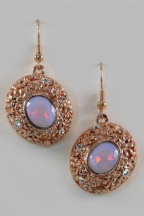 """""""Opi"""" 18K Rose Gold Plated Moonstone Earrings"""