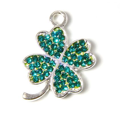 Four Leaf Clover with Green Crystals Charm