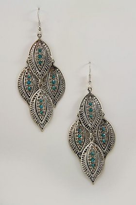 """Libet"" Vintage Silver Tone Leaves Earrings."