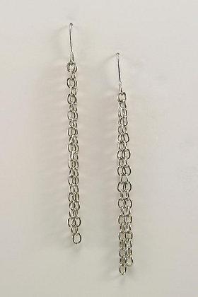 ".""Hiltania"" Silver Tone Metal Chain Earrings"