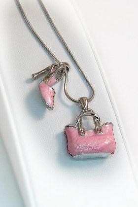 """FeeFee"" White Gold  Pink Crystal/Epoxy Pendant"