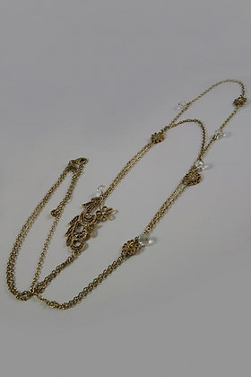 """Karenia""Antique Gold Metal Flower Necklace"