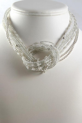 """Fredia"" Silver Plated Glass Necklace"