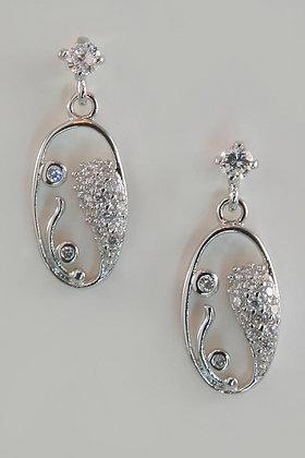 """""""Bryana"""" Rhodium Plated AAA Zircon Earrings"""