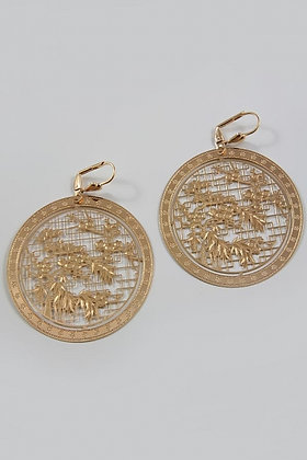 """""""Asia"""" 24K Rose Gold Plated Round Filigree Earring"""