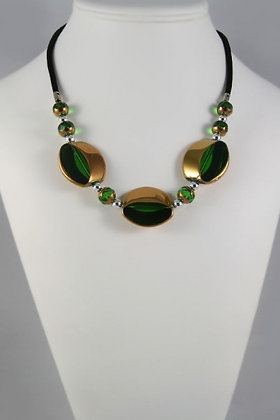 """""""Cindy"""" Green/Copper Oval Necklace"""