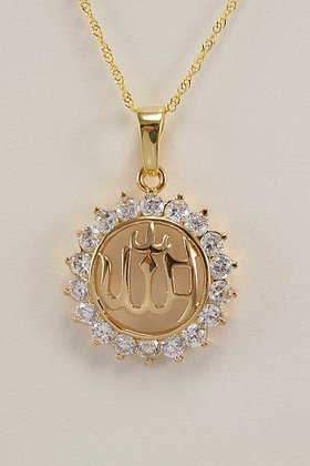 """Damara"" Round Zircon Pendant 18K  ""Allah"""