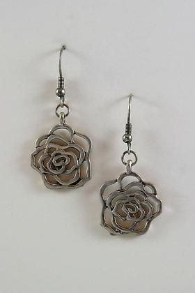 """""""Kiera"""" Silver Tone Floral Charm Hook Earrings"""