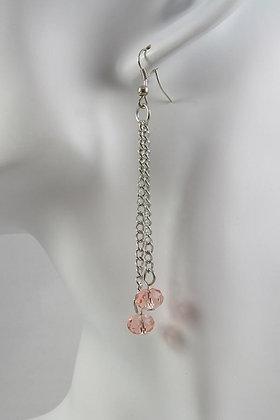 """Inez"" Pink Facet Crystal Silver Tone Earrings"
