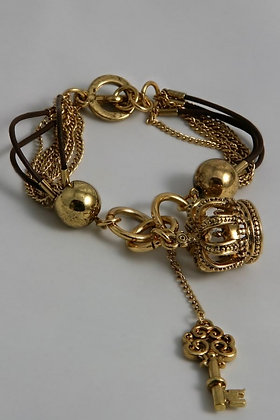 """Maette"" Crown & Key Charm Chain Bracelet"