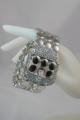"""Pagy"" Silver Tone Belt & Crystal Buckle Bracelet"