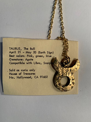 Taurus Zodiac Talisman Necklace Gold Tone