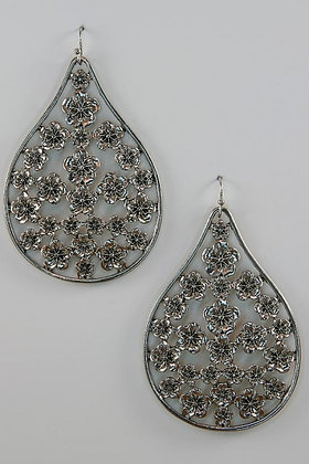 """""""Josephine"""" Antique Silver Tone Floral Earrings"""
